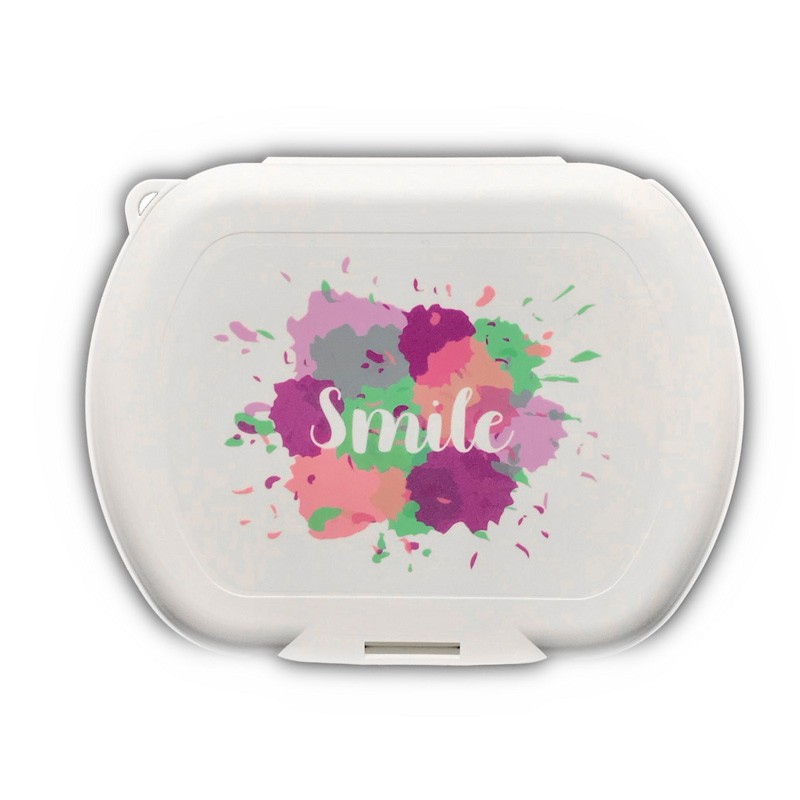 Porta Mascarillas caja estuche de plástico blanco. Antimicrobiano. Smile